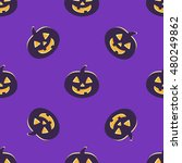 halloween seamless pattern with ... | Shutterstock .eps vector #480249862