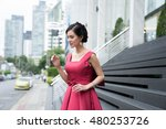 asian and beautiful lady in red ... | Shutterstock . vector #480253726