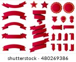 Ribbon vector icon red color on white background. Banner isolated shapes illustration of gift and accessory. Christmas sticker and decoration for app and web. Label, badge and borders collection. | Shutterstock vector #480269386