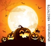 Stock vector halloween pumpkins under the moonlight 480279778