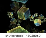 Abstract colored cubes floating isolated on a black background - stock photo