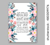romantic pink peony bouquet... | Shutterstock .eps vector #480309976