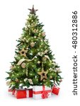 Small photo of Christmas tree with lights and gifts isolated on white