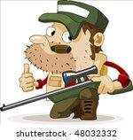 Deer Hunting in summer. Detailed vector illustration