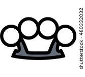 brass knuckles outline icon | Shutterstock .eps vector #480332032