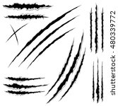 cat claw scratches marks set on ... | Shutterstock .eps vector #480339772