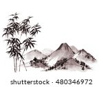 bamboo trees and mountains in... | Shutterstock . vector #480346972