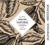 cocoa bean tree design template.... | Shutterstock .eps vector #480353428