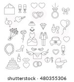 linear set of wedding icons | Shutterstock . vector #480355306