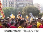 Small photo of National Day of Catalonia in 2014. Demonstration commemorating the fall of Barcelona by Bourbon troops in the War of Spanish Succession in 1714. They are abolished the Catalan institutions