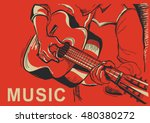 musician playing guitar. vector ...