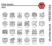 seo thin line related icons set ... | Shutterstock .eps vector #480381466