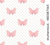 Pink Bows. Seamless Cartoon...
