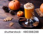 pumpkin smoothie  spice latte.... | Shutterstock . vector #480388288