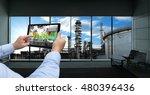 industry 4.0 concept .man hand... | Shutterstock . vector #480396436