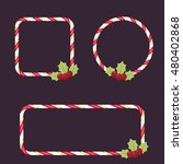 candy cane empty frames with...   Shutterstock .eps vector #480402868