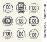 set of vintage anniversary...   Shutterstock .eps vector #480429328
