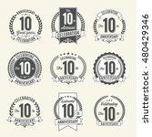 set of vintage anniversary... | Shutterstock .eps vector #480429346