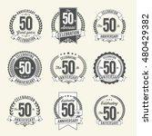 set of vintage anniversary... | Shutterstock .eps vector #480429382