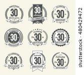 set of vintage anniversary... | Shutterstock .eps vector #480429472