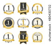 set of retro anniversary badges ... | Shutterstock .eps vector #480430732