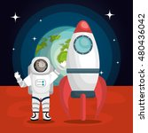 astronaut cartoon space... | Shutterstock .eps vector #480436042