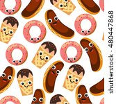 seamless pattern with desserts. ... | Shutterstock .eps vector #480447868