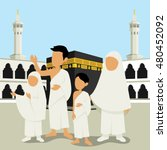 muslim man and wowan with their ... | Shutterstock .eps vector #480452092
