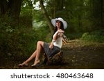 beautiful woman in hat. retro... | Shutterstock . vector #480463648