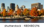 skyline and colorful trees in... | Shutterstock . vector #480480196