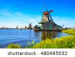 traditional dutch windmills and ... | Shutterstock . vector #480485032