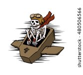 kamikaze  in flying coffin | Shutterstock .eps vector #480506566