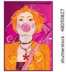 bubblegum woman   Shutterstock .eps vector #48050827