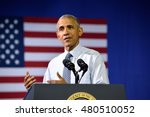 Small photo of CHARLOTTE, NC, USA - JULY 5, 2016: President Barack Obama gestures at a campaign rally for the presumptive democratic nominee at the Charlotte Convention Center.