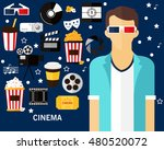 cinema concept background. flat ... | Shutterstock .eps vector #480520072