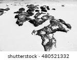black rock on the white beach... | Shutterstock . vector #480521332
