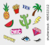 fashion patch badges with... | Shutterstock .eps vector #480522112