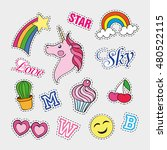 fashion patch badges with... | Shutterstock .eps vector #480522115