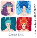 zodiac girls set  vector...   Shutterstock .eps vector #480530098