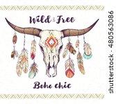 boho chic  ethnic  native... | Shutterstock .eps vector #480563086
