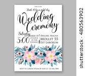 romantic pink peony bouquet... | Shutterstock .eps vector #480563902