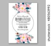 romantic pink peony bouquet... | Shutterstock .eps vector #480563992
