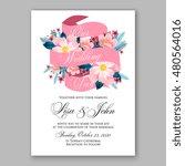romantic pink peony bouquet... | Shutterstock .eps vector #480564016