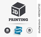3d print sign icon. 3d cube... | Shutterstock .eps vector #480565732