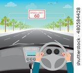 human hands driving a car on... | Shutterstock .eps vector #480584428
