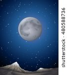 scene with moon over the planet ... | Shutterstock .eps vector #480588736