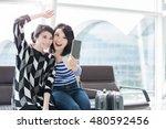 two beauty woman take smart... | Shutterstock . vector #480592456