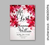 romantic pink peony bouquet... | Shutterstock .eps vector #480600496
