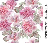 seamless pattern with flowers.... | Shutterstock . vector #480607618
