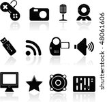 icon set multimedia black on... | Shutterstock .eps vector #48061606